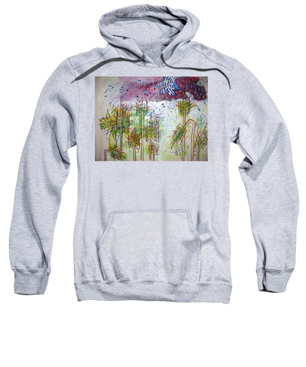 Barly Paintings Sweatshirt featuring the painting Barly And The Blue Moon by Seon-Jeong Kim