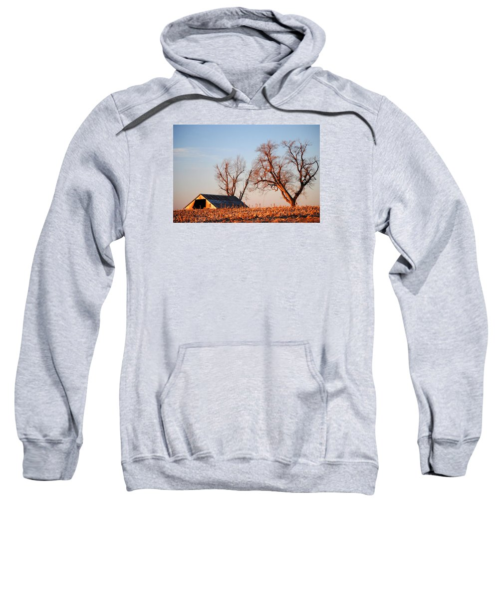Barn Sweatshirt featuring the photograph Barn At Sunrise by Glory Ann Penington