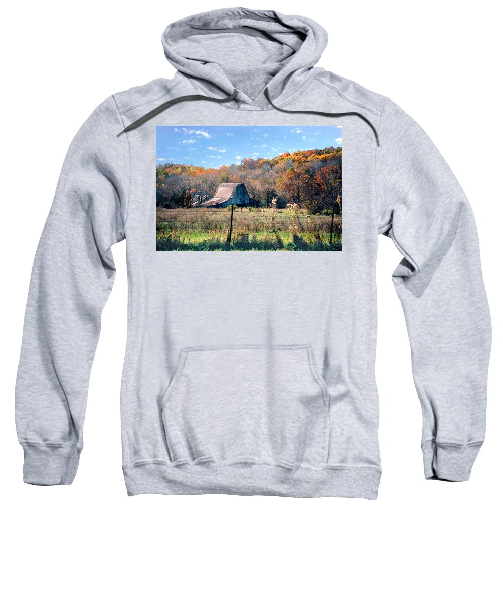 Landscape Sweatshirt featuring the photograph Barn In Liberty Mo by Steve Karol