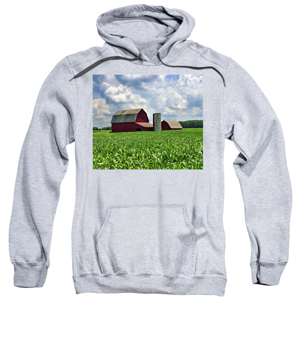 Barn Sweatshirt featuring the photograph Barn In The Corn by David Arment