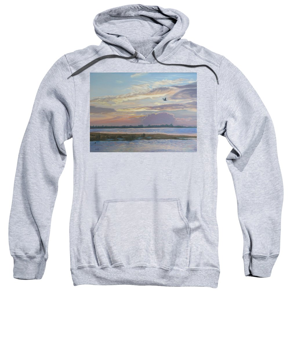 Sunset Painting Sweatshirt featuring the painting Barnegat Bay At Sunset by Lea Novak