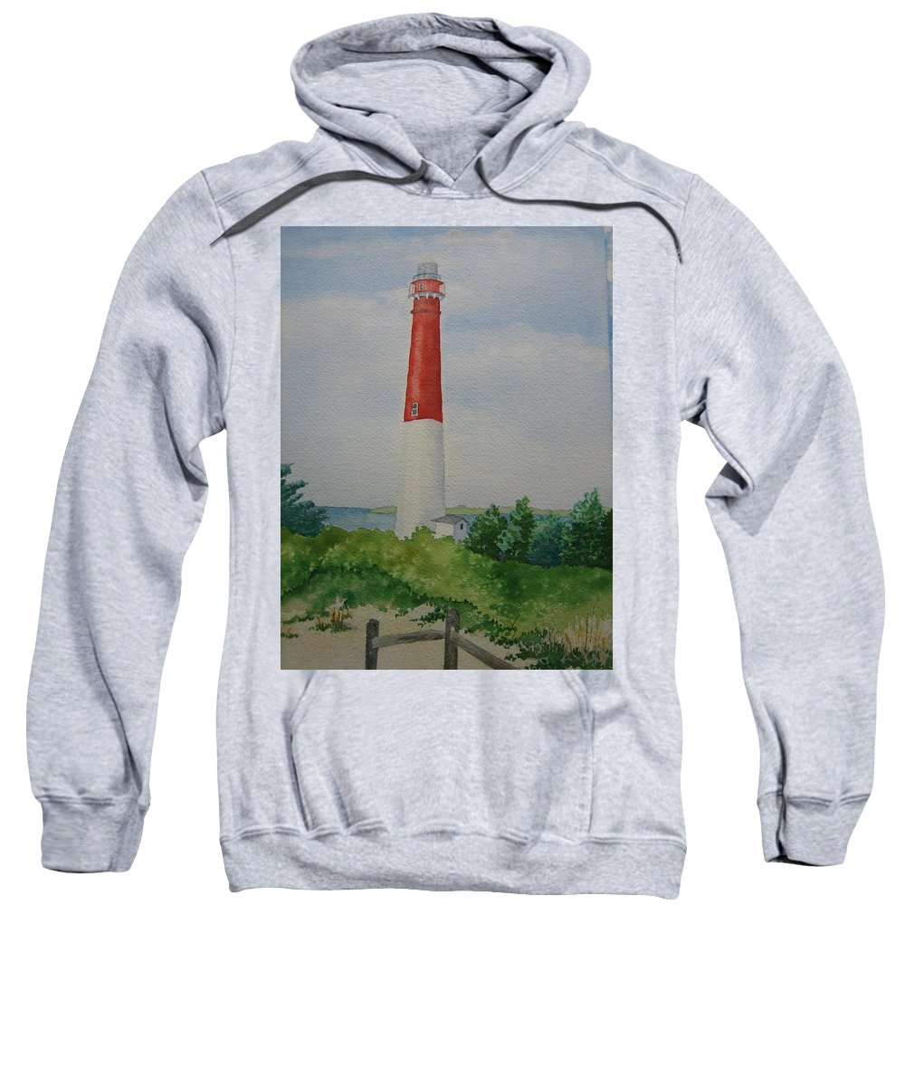 Barnegat Lightouse New Jersey Long Beach Ocean Landscape Light Long Beach Sweatshirt featuring the painting Barnegat Light by Jeff Lucas