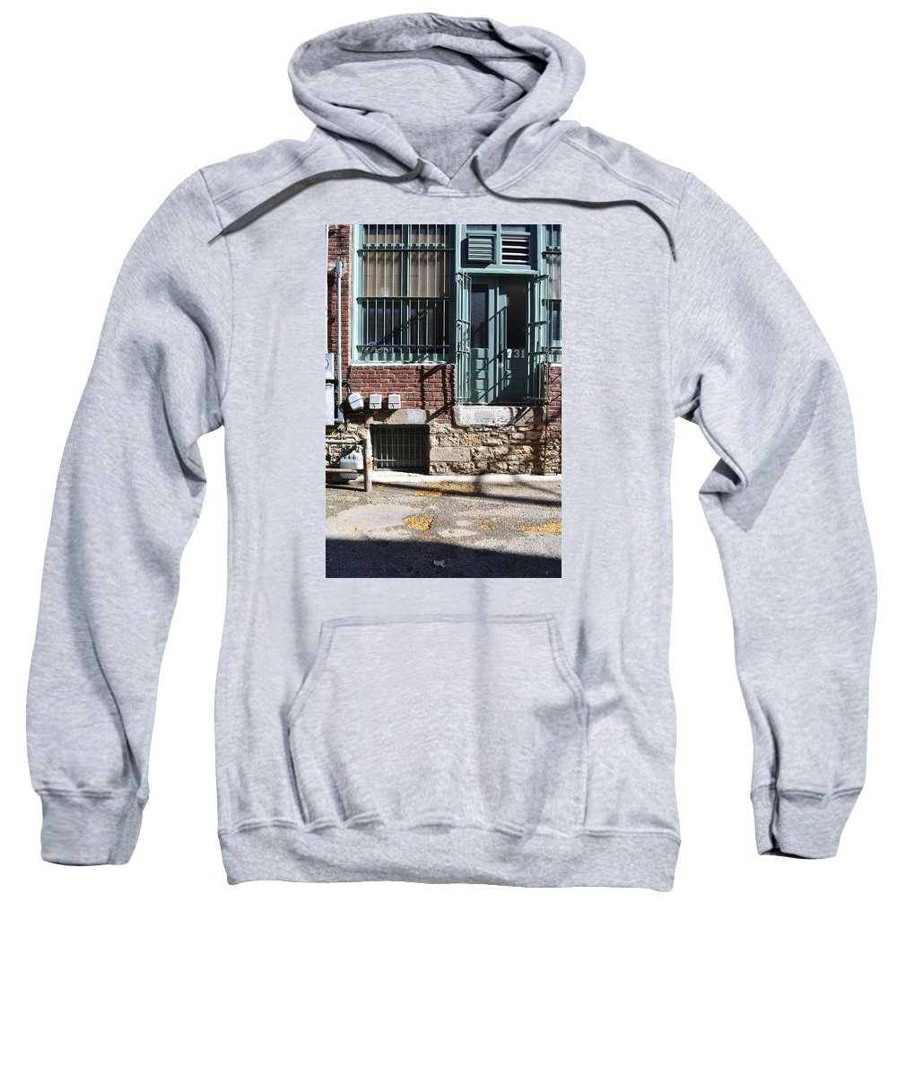 Downtown Sweatshirt featuring the photograph Barred In by Alice Kelsey