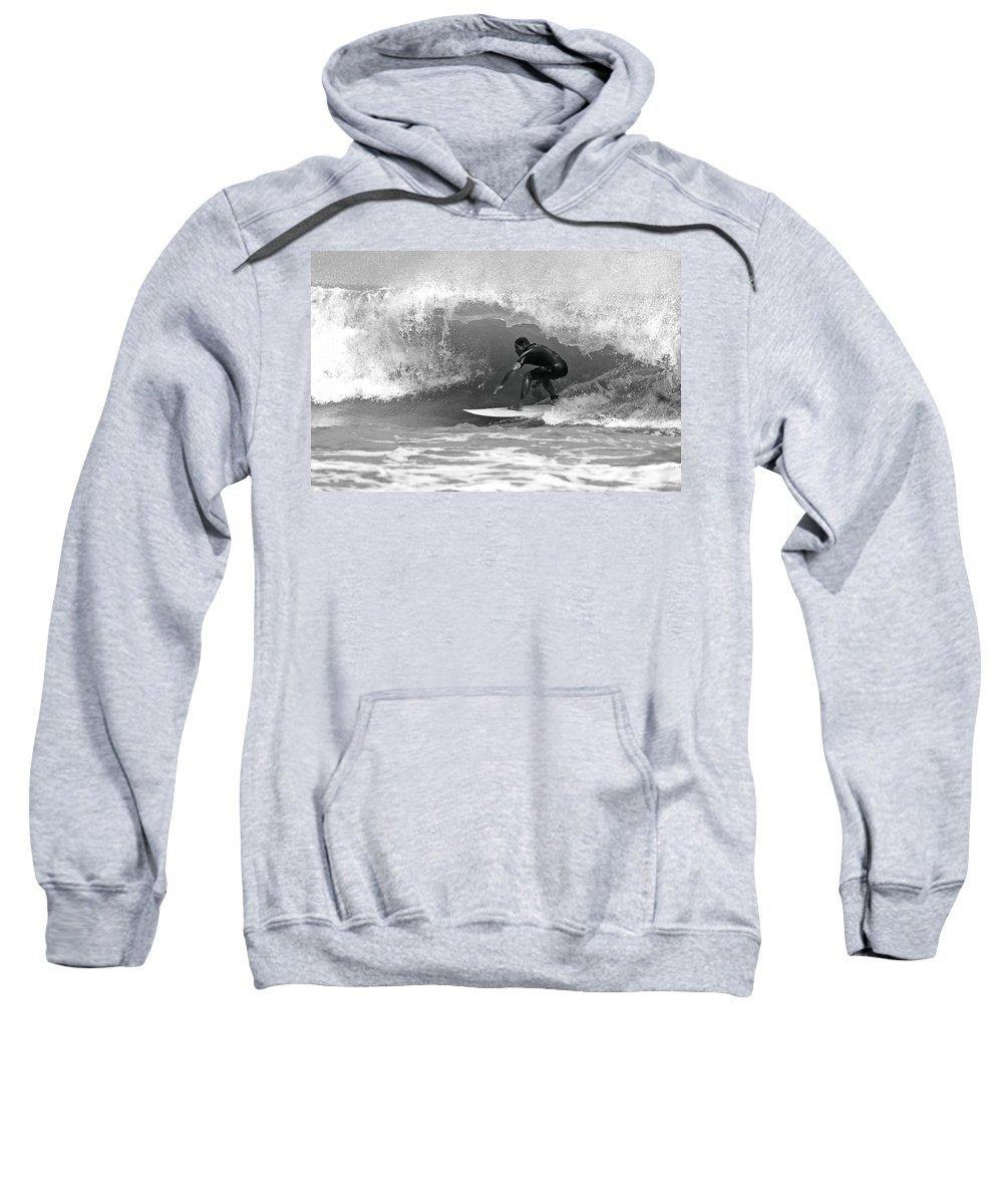 Surf Sweatshirt featuring the photograph Barrel Ride by Daniel Hagerman