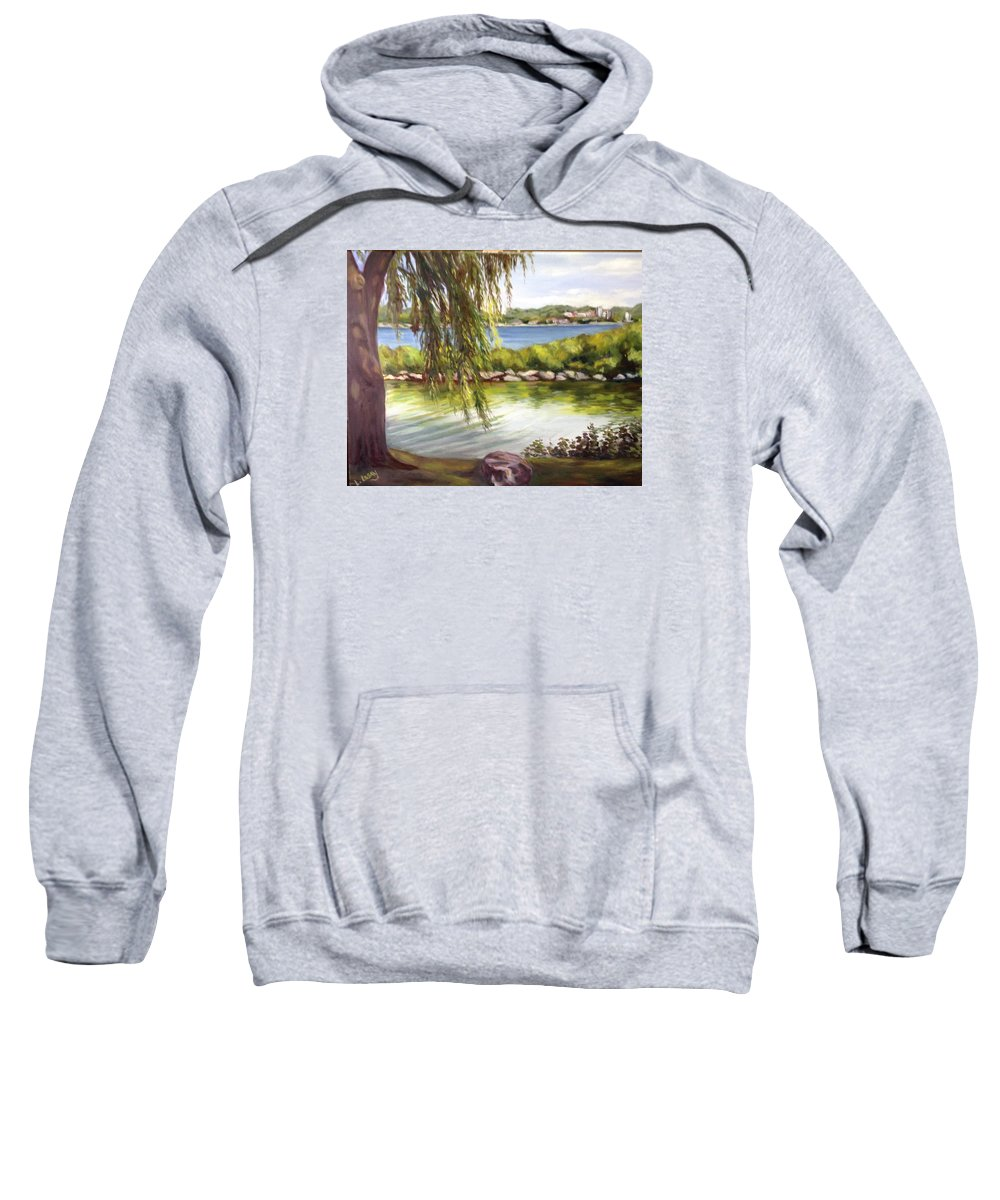 View Of Barrie's Beautiful Waterfront. Pond. Landscape. Sweatshirt featuring the painting Barrie Waterfront by Liz Lasky