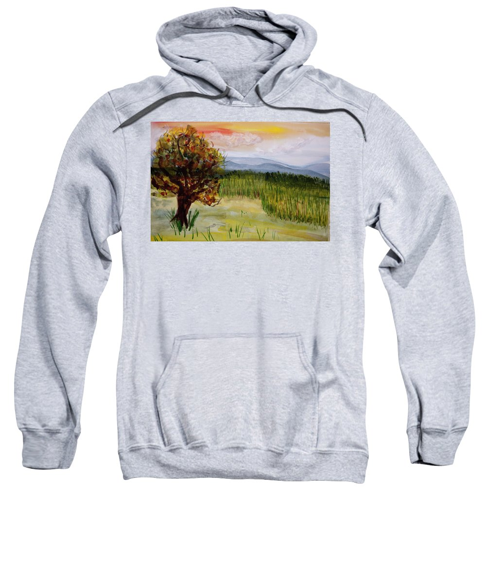 Barton Sweatshirt featuring the painting Barton Sunset by Donna Walsh