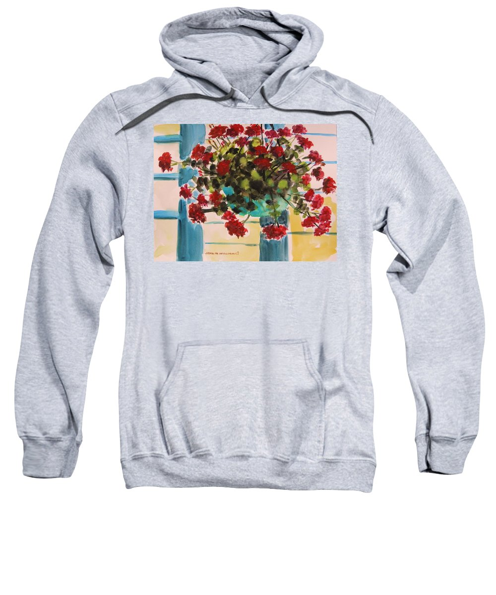 Red Sweatshirt featuring the painting Basket Of Geraniums by John Williams