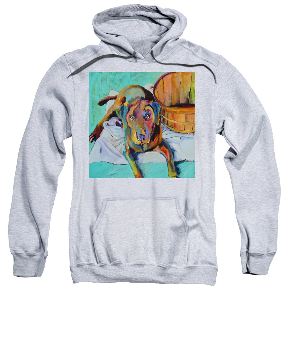 Chocolate Lab Sweatshirt featuring the painting Basket Retriever by Pat Saunders-White