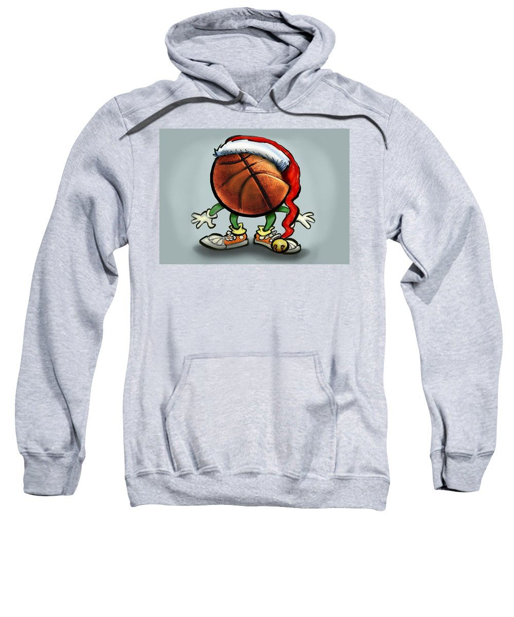 Basketball Sweatshirt featuring the greeting card Basketball Christmas by Kevin Middleton