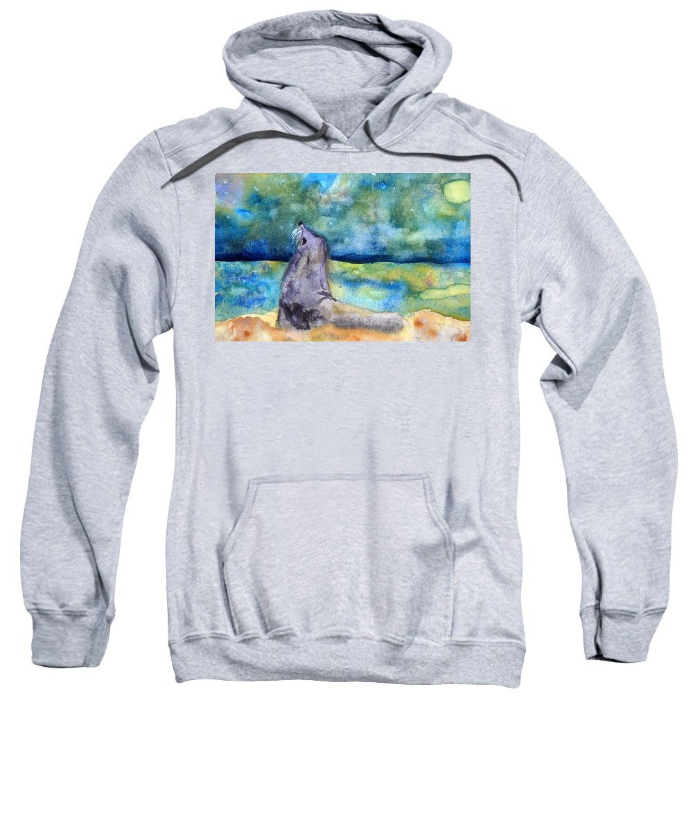 Sea Lion Sweatshirt featuring the painting Basking In The Moonlight by Vicki Housel