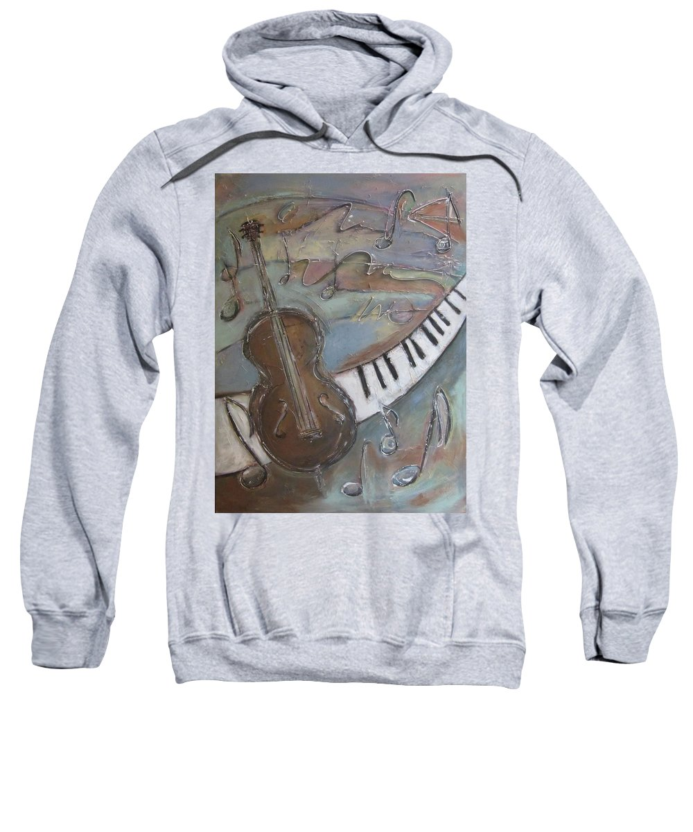 Painting Sweatshirt featuring the painting Bass And Keys by Anita Burgermeister