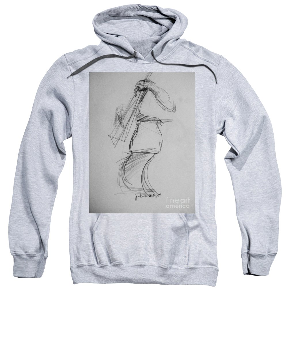Bass Sweatshirt featuring the drawing Bass Man by Jamey Balester