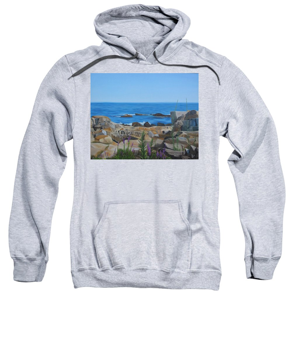Seascape Sweatshirt featuring the painting Bass Rocks Gloucester by Lea Novak