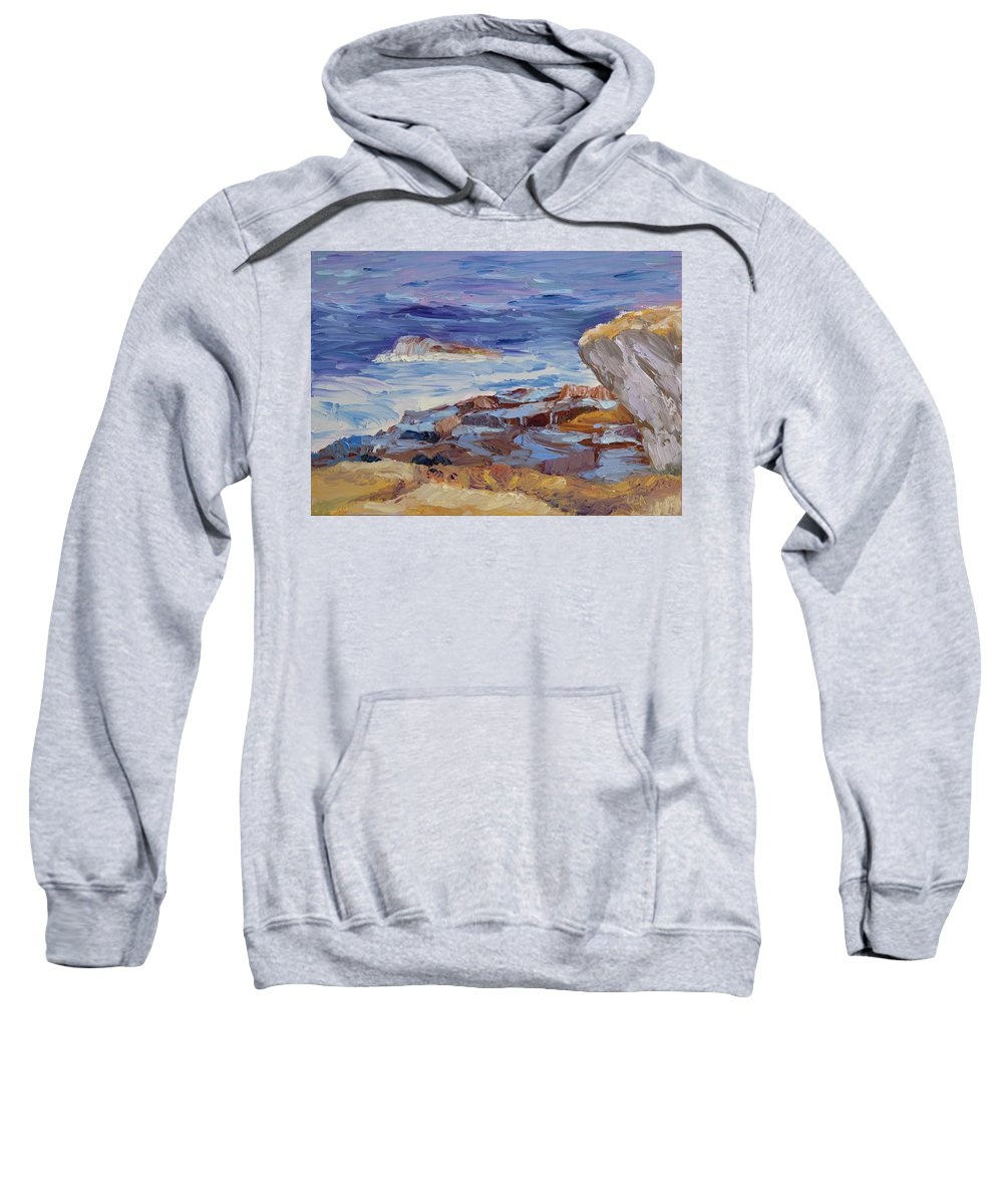 Seascape Painting Sweatshirt featuring the painting Bass Rocks by Lea Novak
