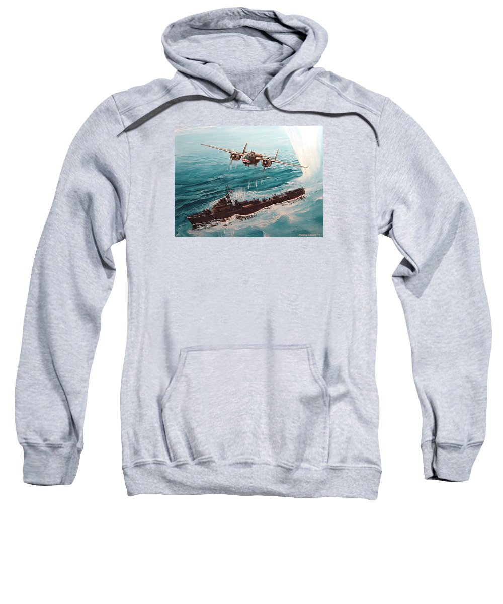 Military Sweatshirt featuring the painting Bat Outta Hell by Marc Stewart