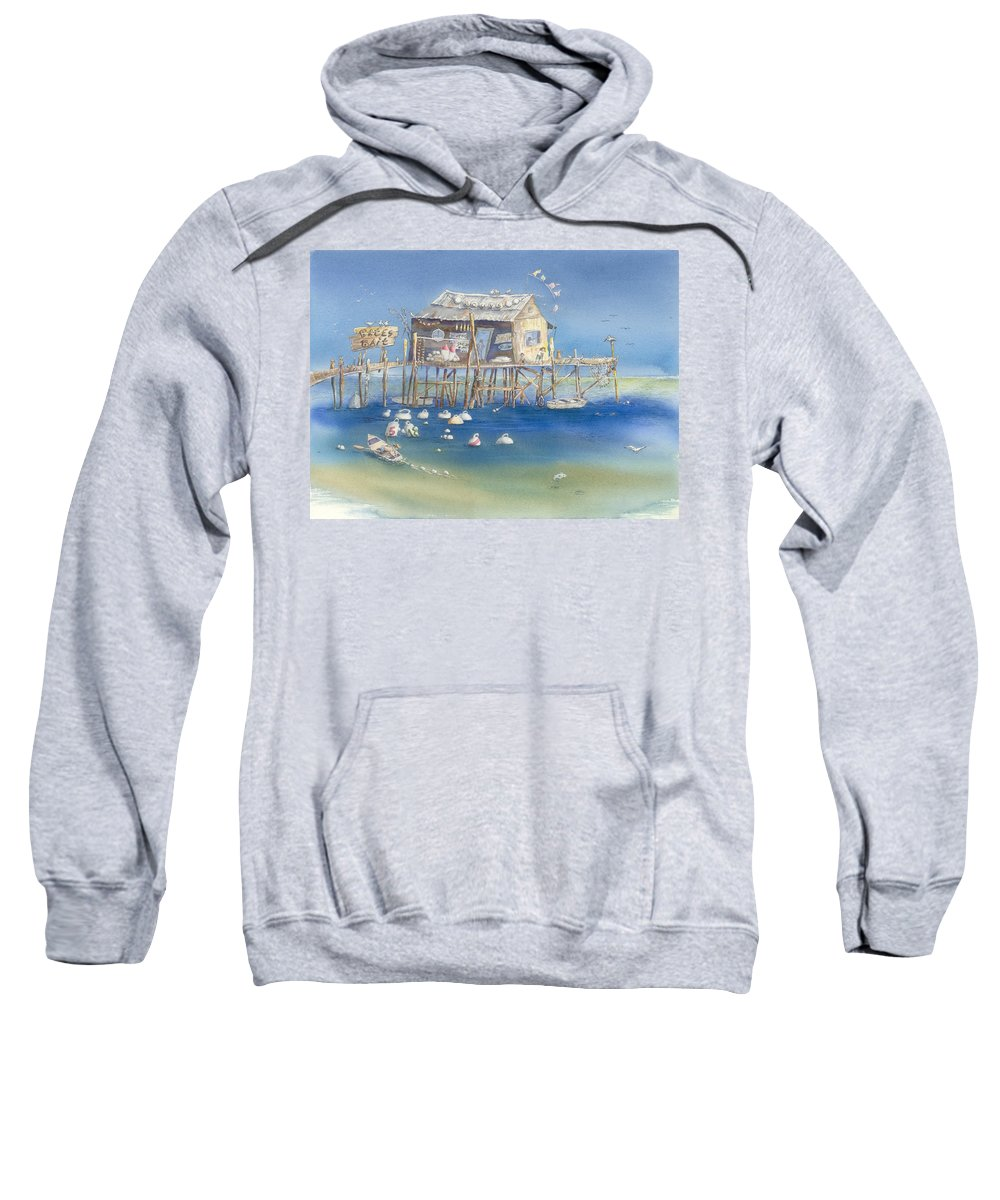 Scenic Sweatshirt featuring the painting Bates Bait And Buoys by Sharon Bowman