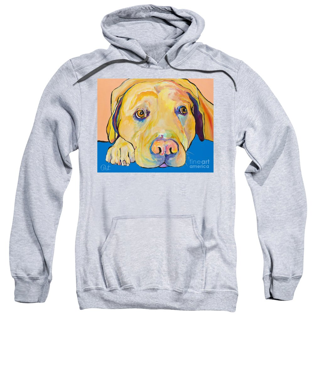 Dog Paintings Yellow Lab Puppy Colorful Animals Pets Sweatshirt featuring the painting Bath Time by Pat Saunders-White