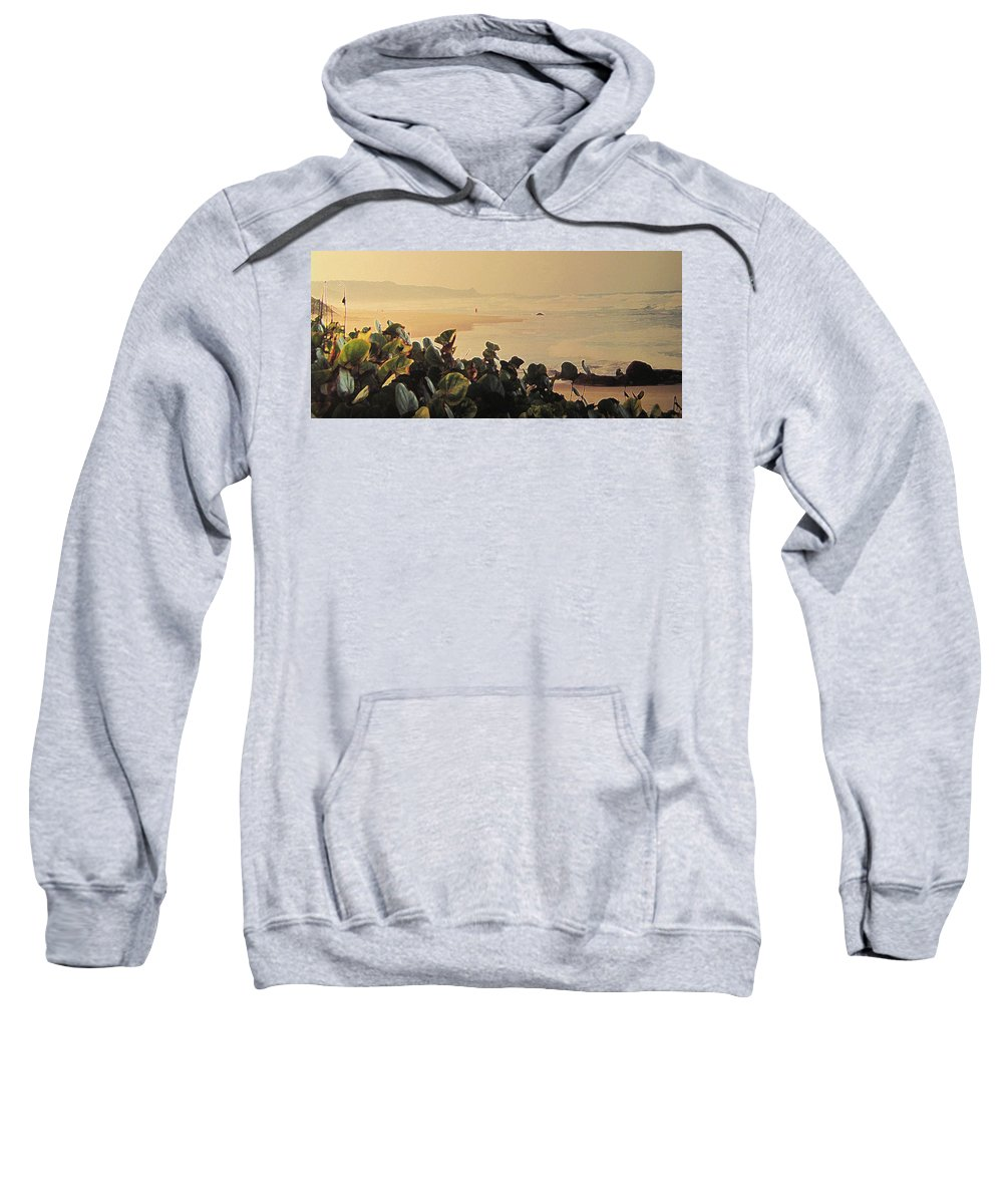 Bathsheba Sweatshirt featuring the photograph Bathsheba Beach Walk by Ian MacDonald