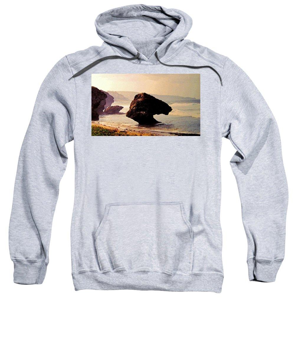 Barbados Sweatshirt featuring the photograph Bathsheba Rocks by Ian MacDonald