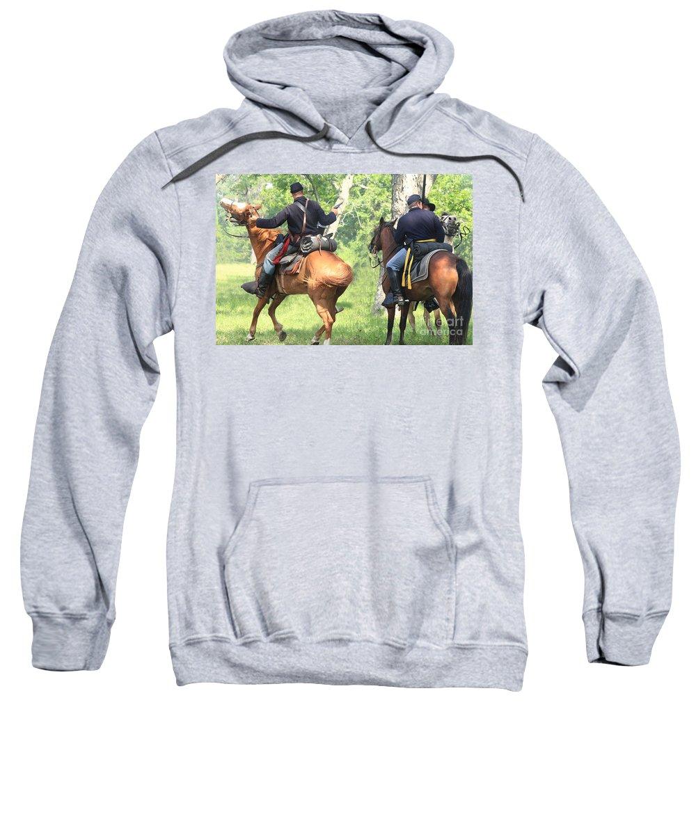 Civil War Re-enactment Sweatshirt featuring the photograph Battle By Horseback by Kim Henderson