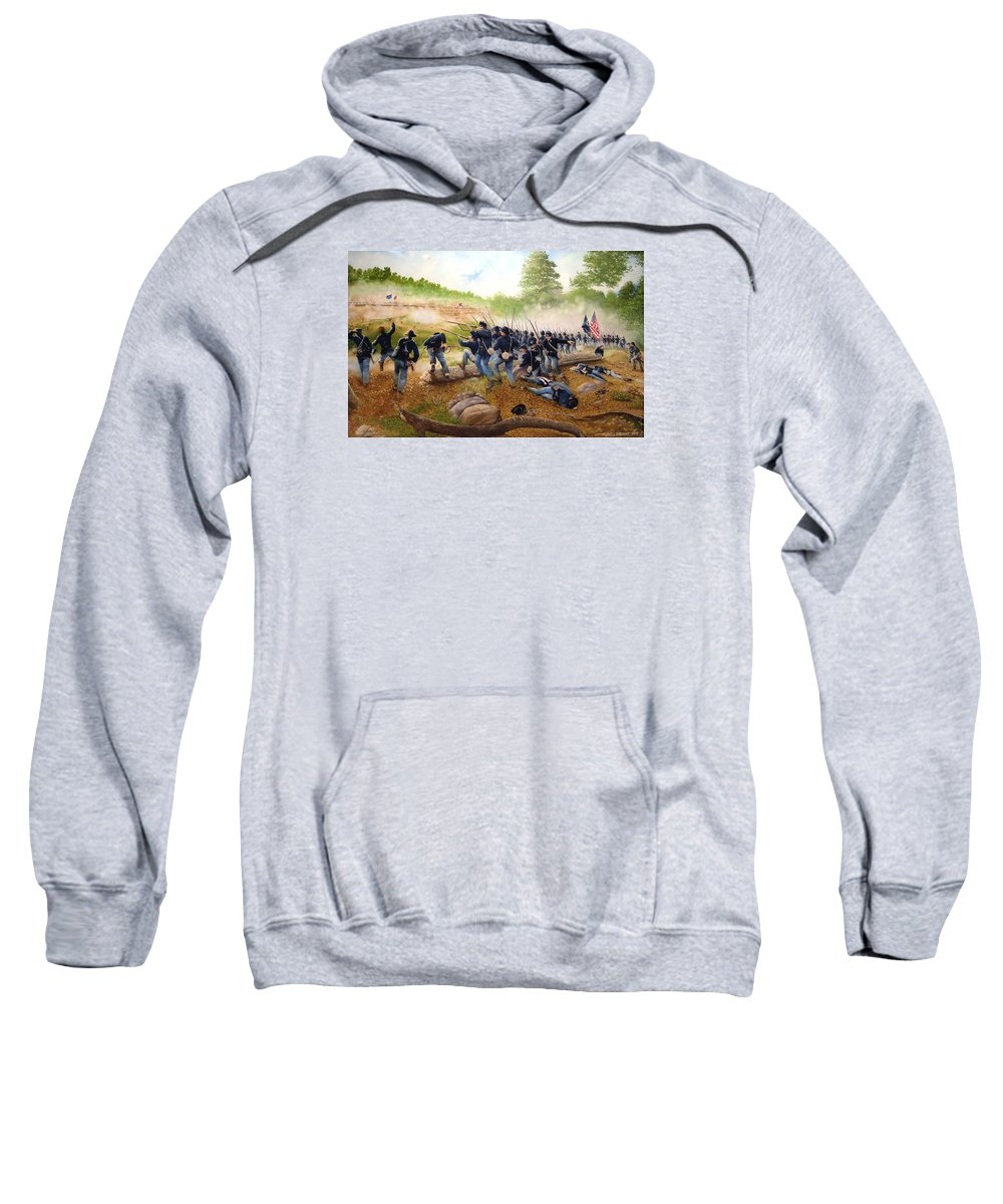 Civil War Sweatshirt featuring the painting Battle Of Utoy Creek by Marc Stewart
