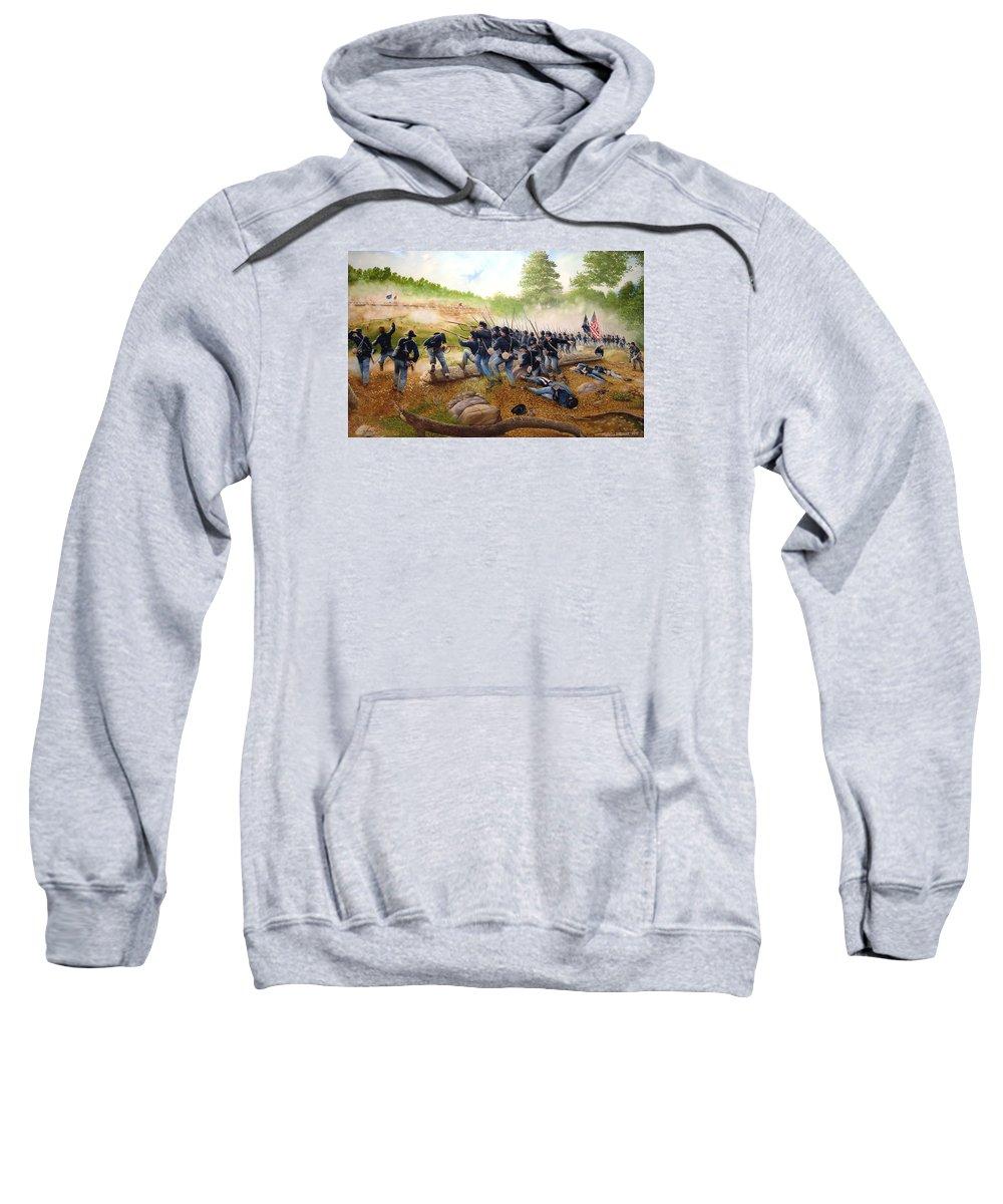 Civil War Sweatshirt featuring the painting Battle Of Utoy Creek by Marc Stewart