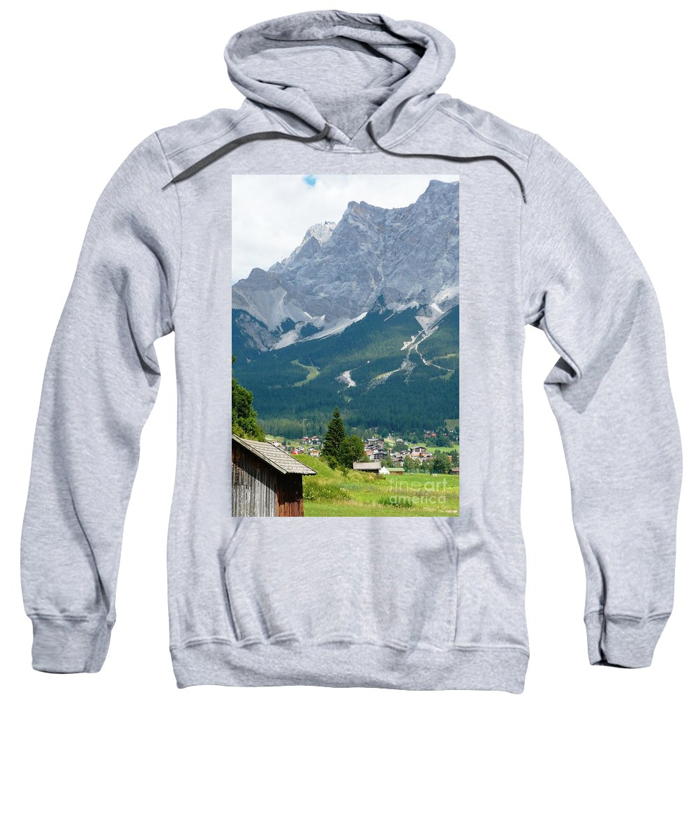 Mountains Sweatshirt featuring the photograph Bavarian Alps With Shed by Carol Groenen