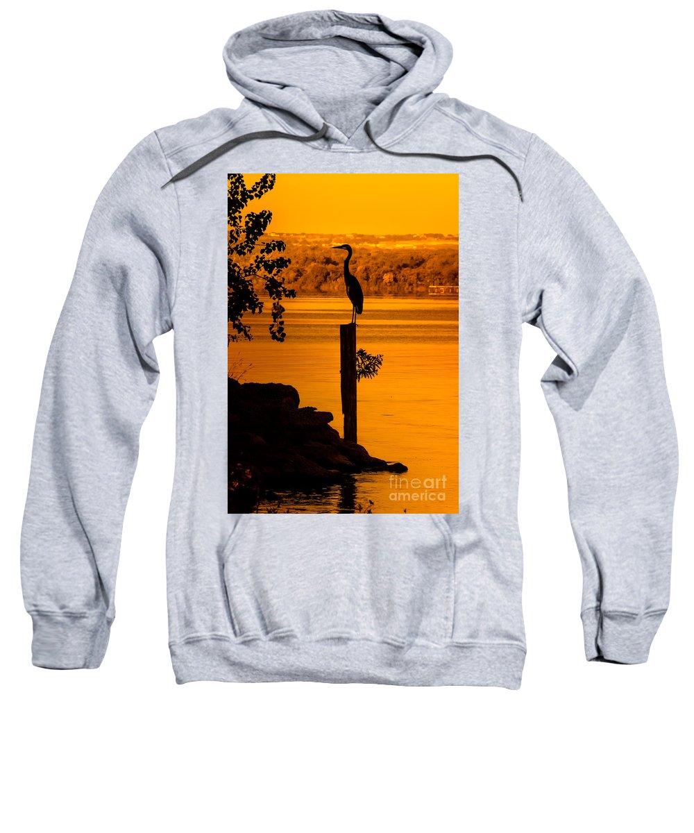 Animal Sweatshirt featuring the photograph Bay At Sunrise - Heron by Robert Frederick
