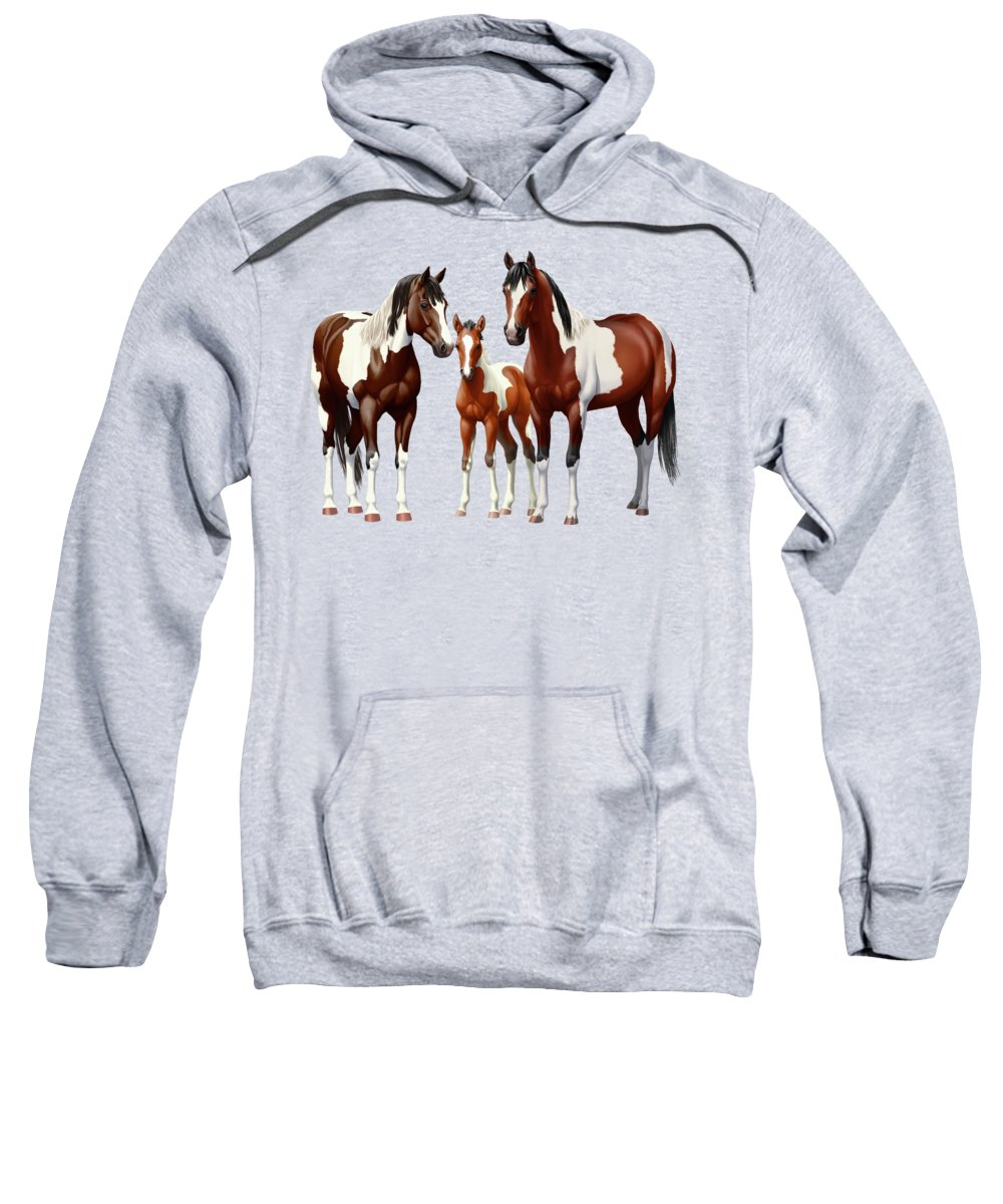 Paint Horse Sweatshirt featuring the painting Bay Paint Horses In Winter by Crista Forest