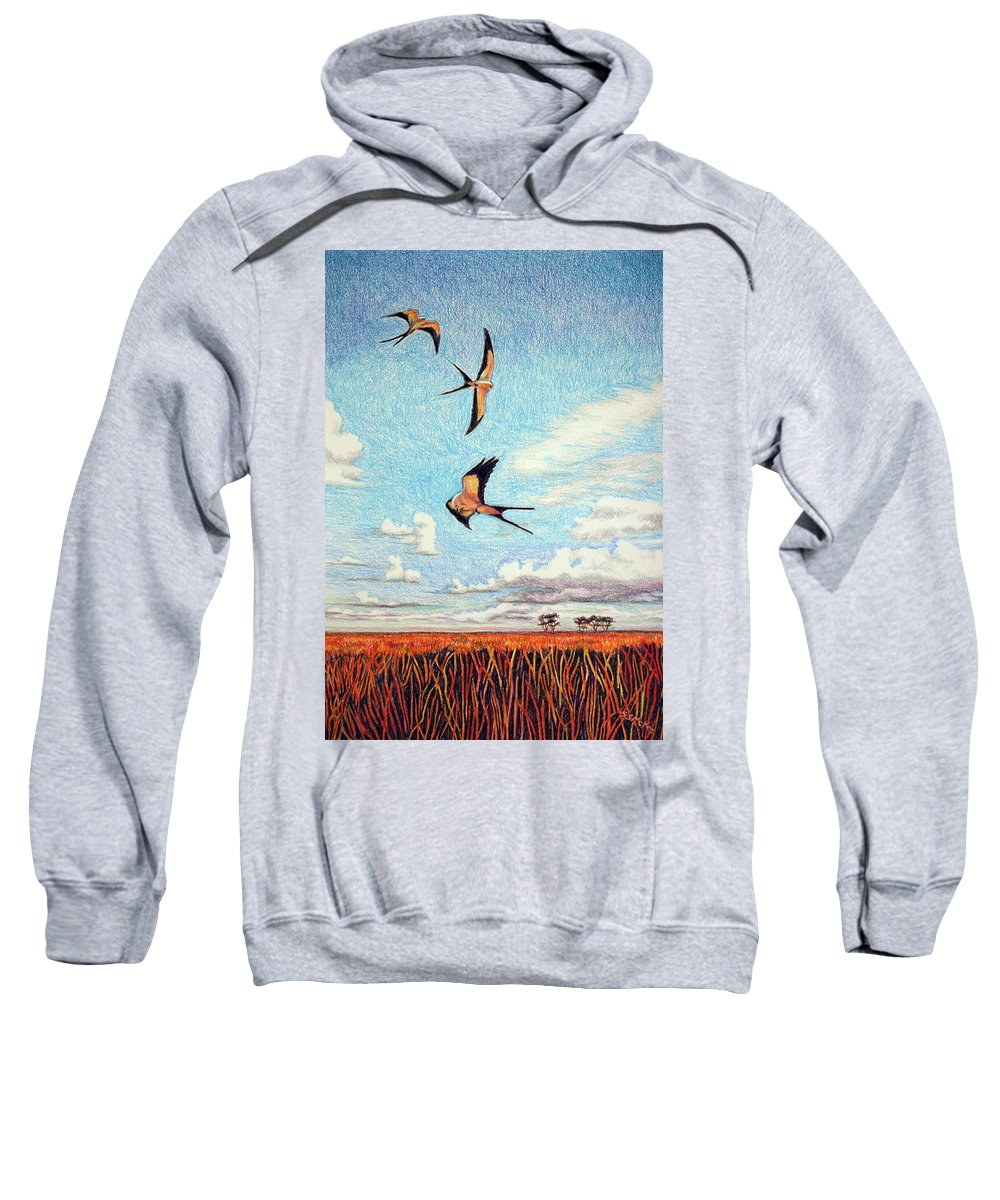 Color Pencil Sweatshirt featuring the drawing Bayou Ballet by Suzanne McKee