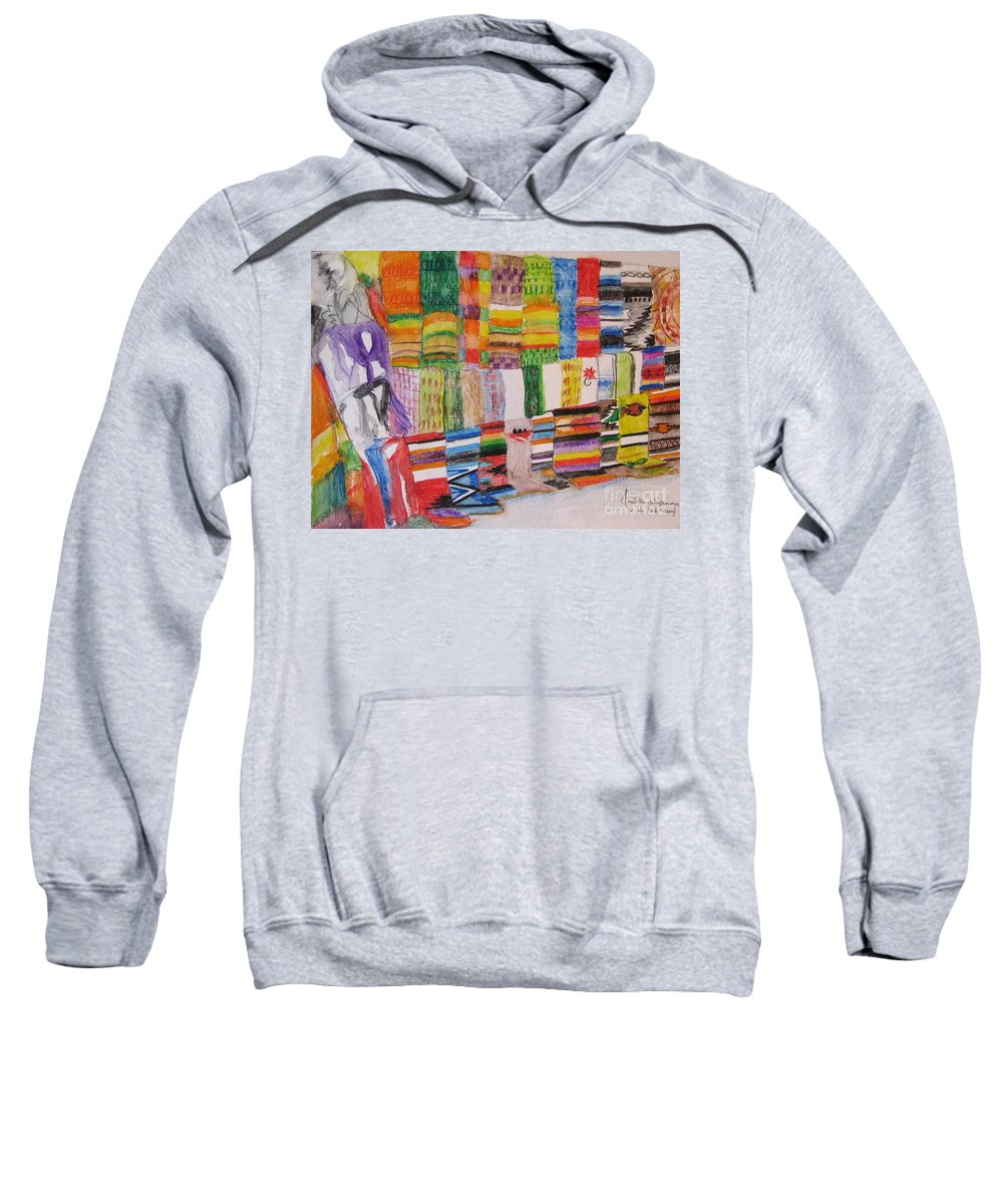 Bright Colors Sweatshirt featuring the painting Bazaar Sabado - Gifted by Judith Espinoza