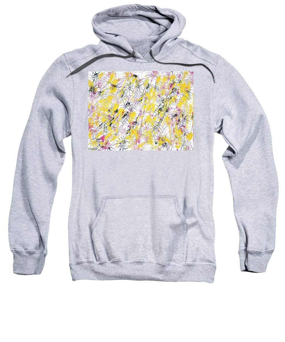 Keith Elliott Sweatshirt featuring the painting Bumble Bees Against The Windshield - V1cm89 by Keith Elliott