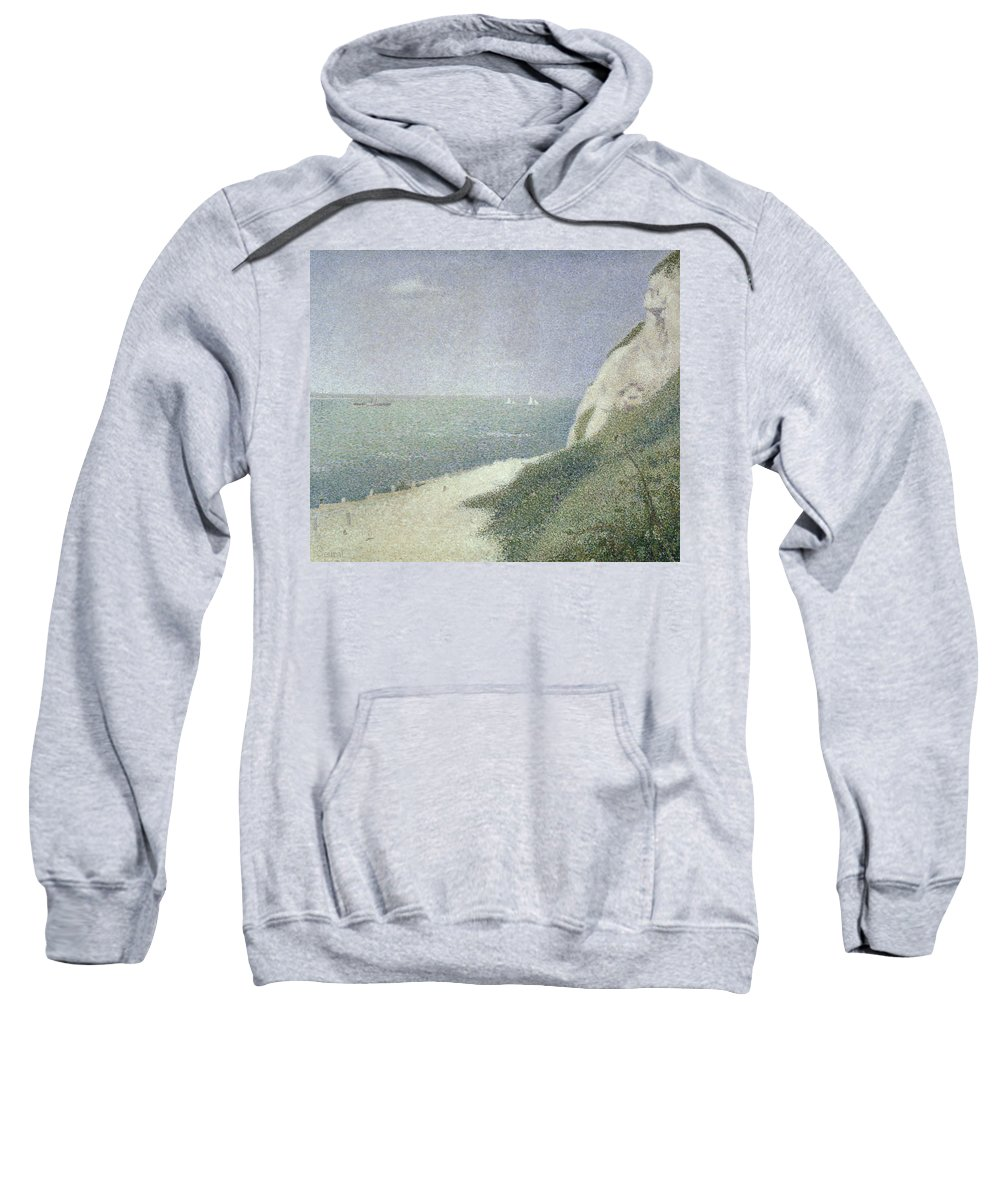 Beach At Bas Butin Sweatshirt featuring the painting Beach At Bas Butin by Georges Pierre Seurat