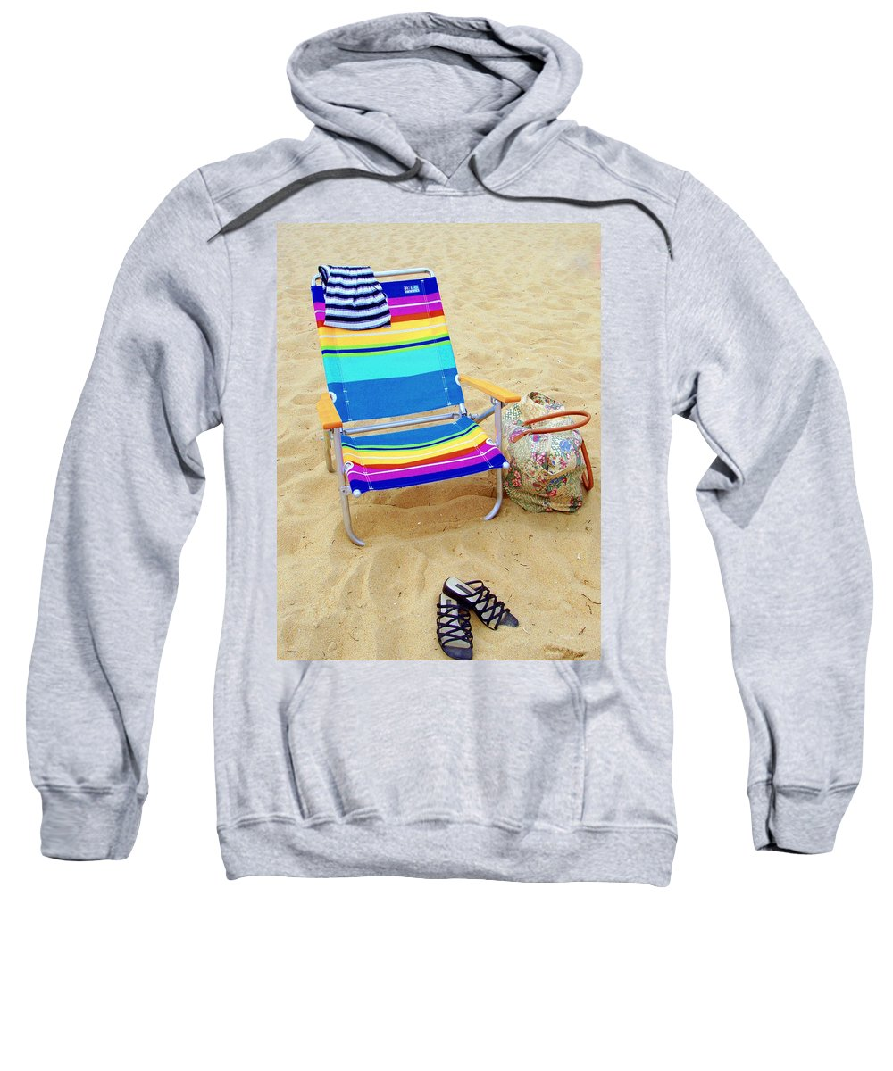 Beach Chair Sweatshirt featuring the photograph Beach Attire by Deborah Crew-Johnson