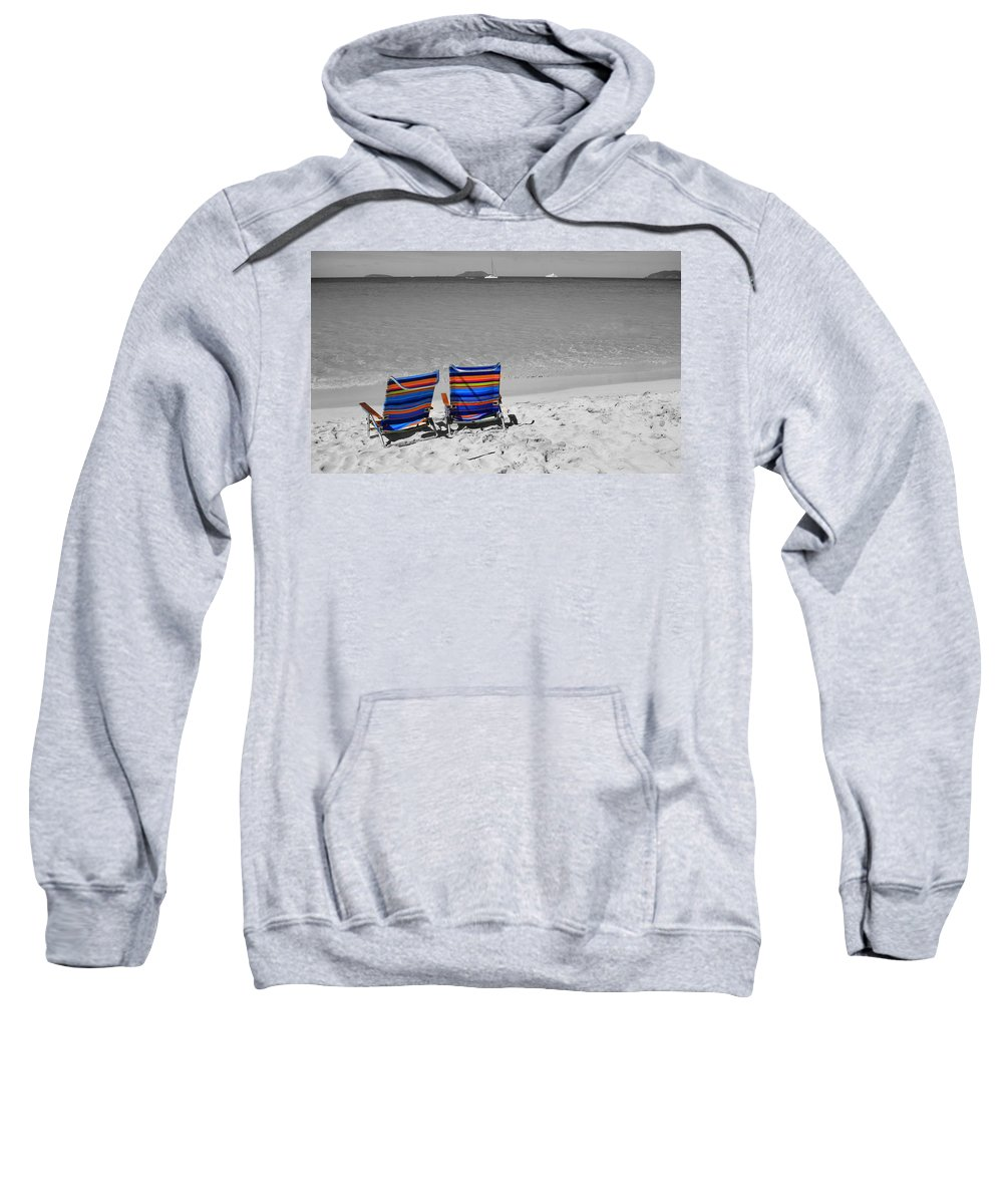 Chair Sweatshirt featuring the photograph Beach Chairs 2 by Perry Webster