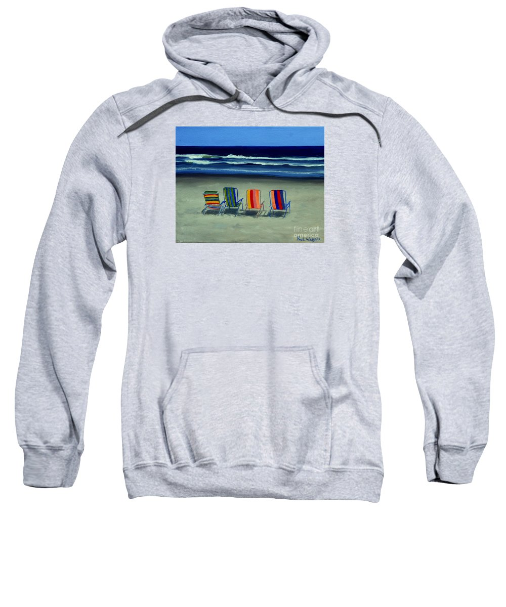 Beach Sweatshirt featuring the painting Beach Chairs by Paul Walsh