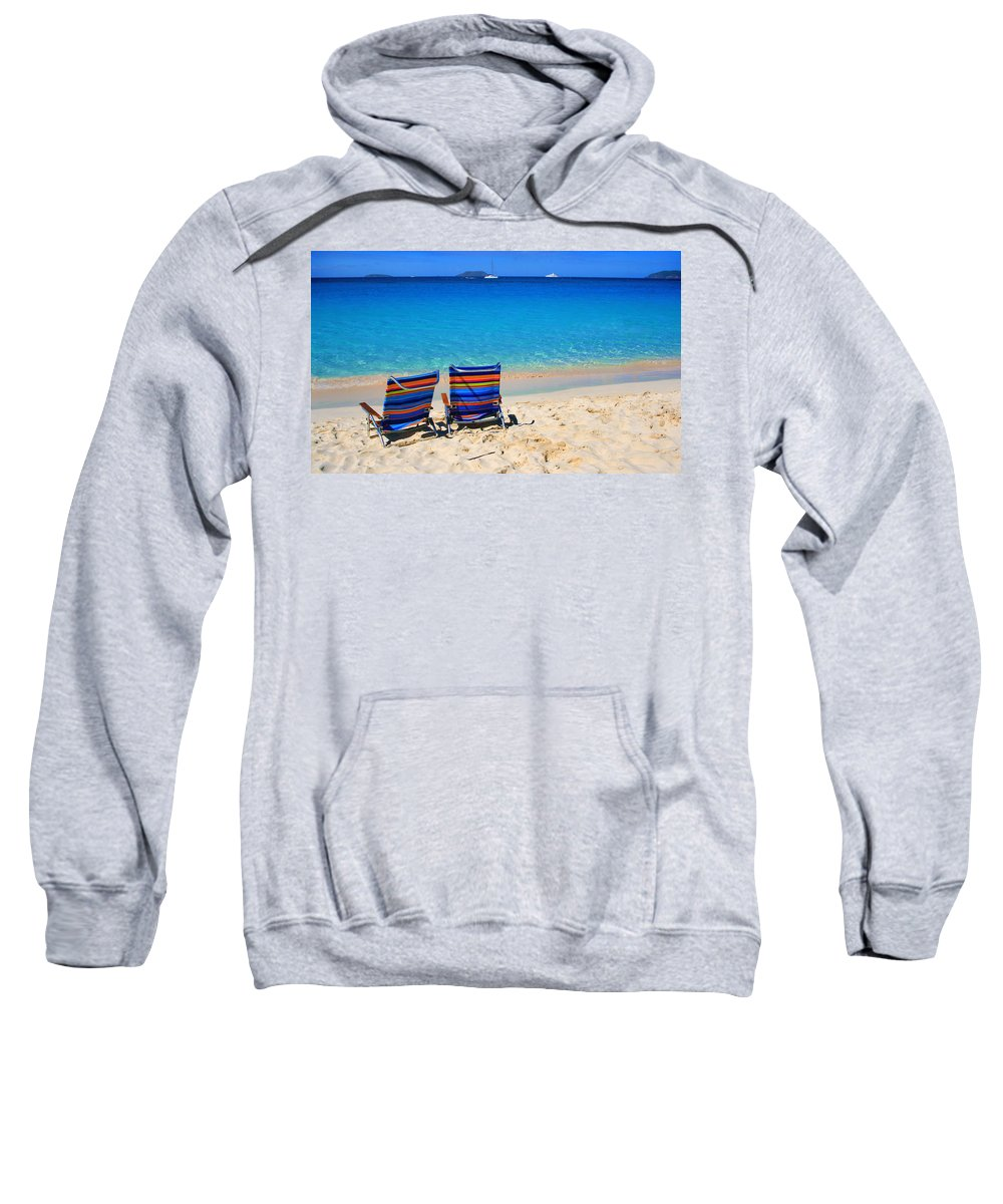 Chair Sweatshirt featuring the photograph Beach Chairs by Perry Webster