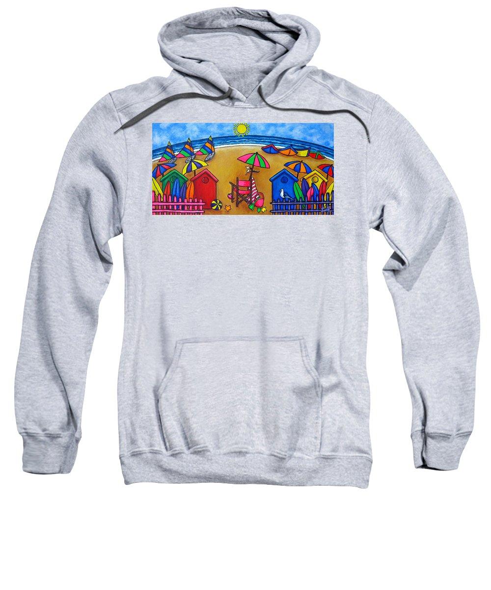 Beach Sweatshirt featuring the painting Beach Colours by Lisa Lorenz