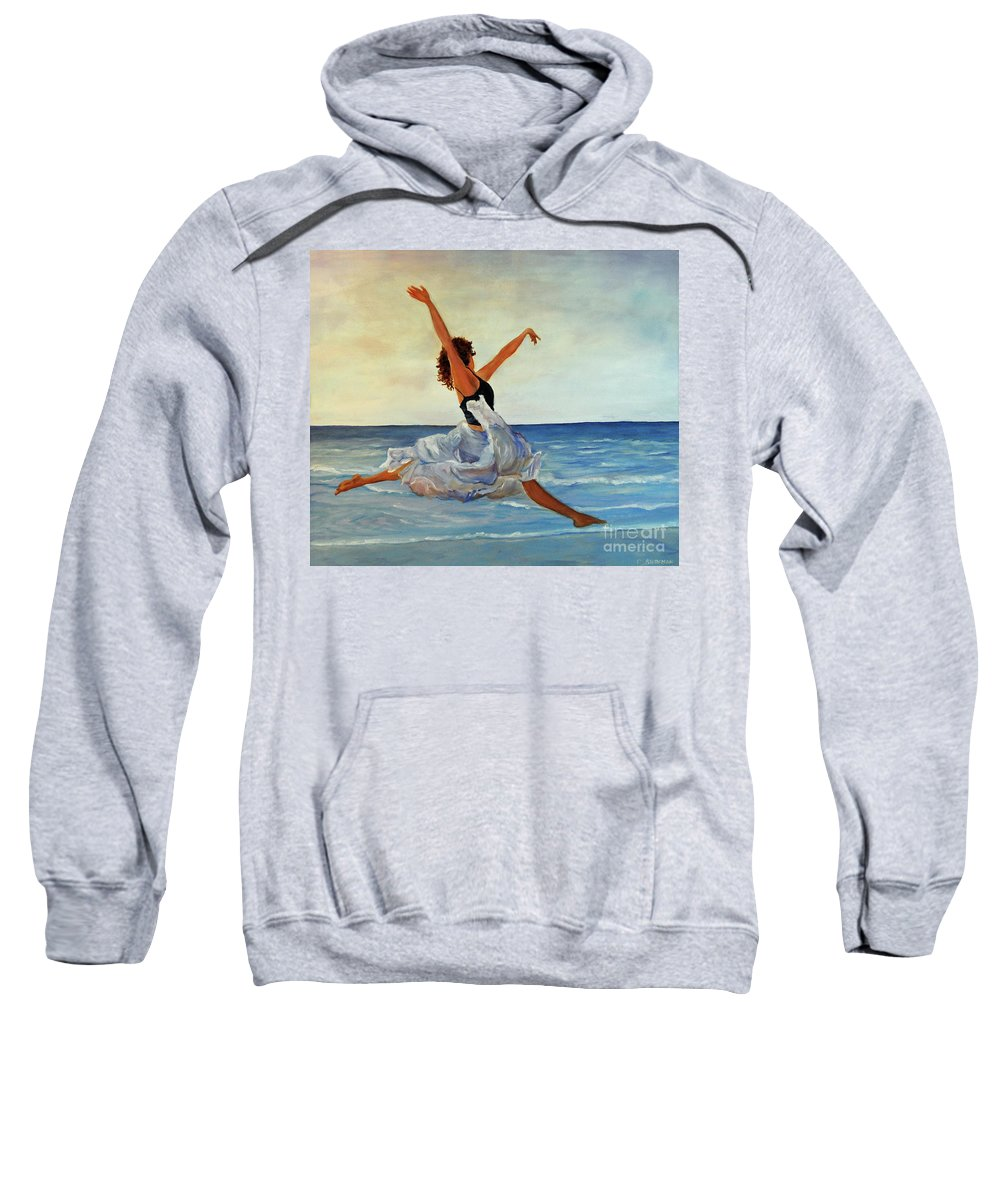 Girl Sweatshirt featuring the painting Beach Dancer by Carolyn Shireman