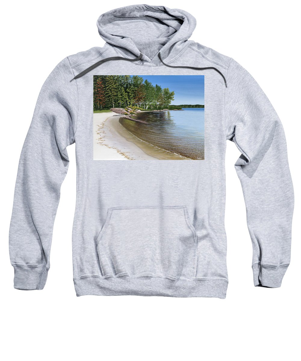 Landscapes Sweatshirt featuring the painting Beach In Muskoka by Kenneth M Kirsch