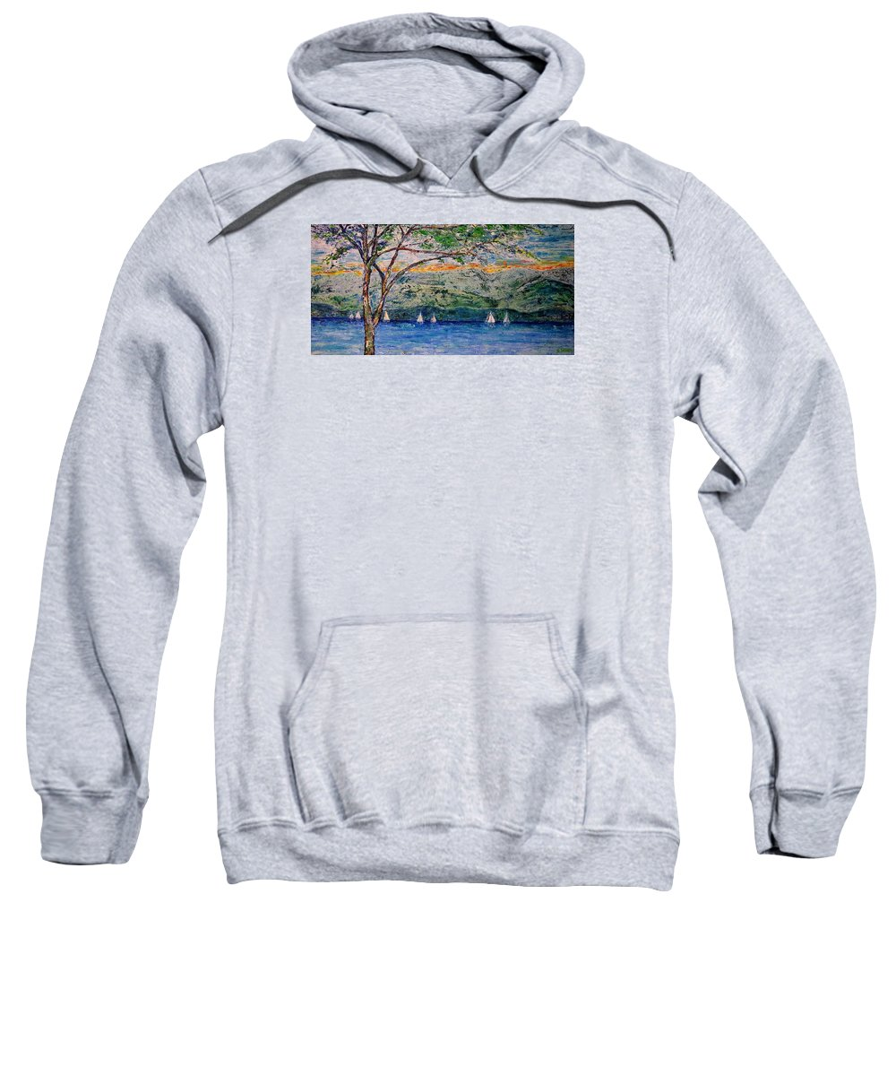 Landscape Sweatshirt featuring the painting Beach Park View by Jo Gerrior