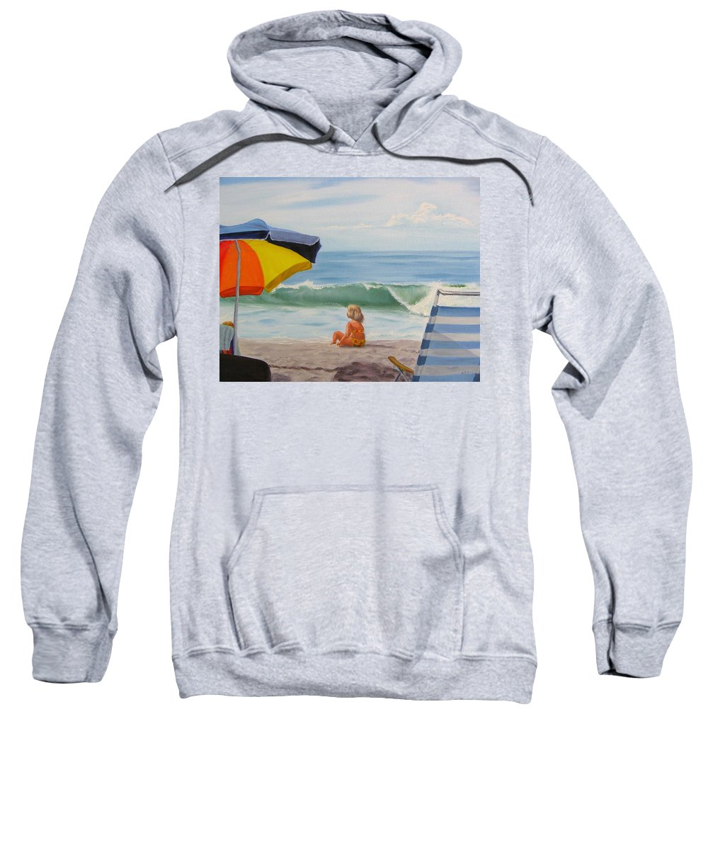 Seascape Sweatshirt featuring the painting Beach Scene - Childhood by Lea Novak