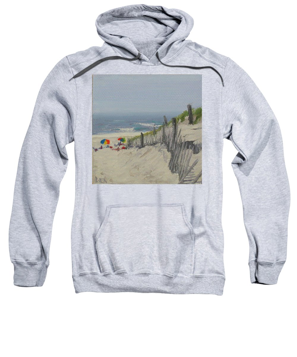 Beach Sweatshirt featuring the painting Beach Scene Miniature by Lea Novak