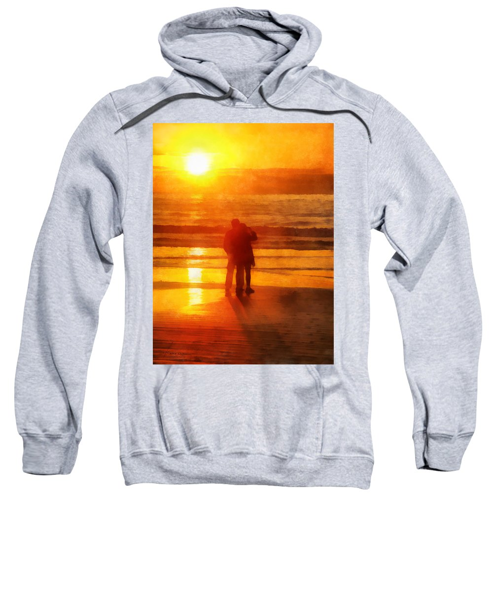 Sun Sweatshirt featuring the digital art Beach Sunrise Love by Francesa Miller