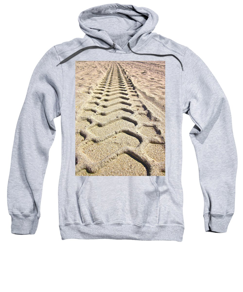 Photograph Of Tire Tracks Sweatshirt featuring the photograph Beach Tracks by Gwyn Newcombe