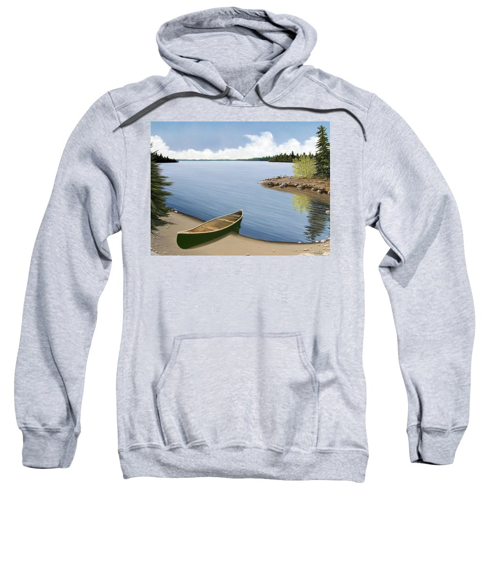 Canoe Sweatshirt featuring the painting Beached In Ontario by Kenneth M Kirsch