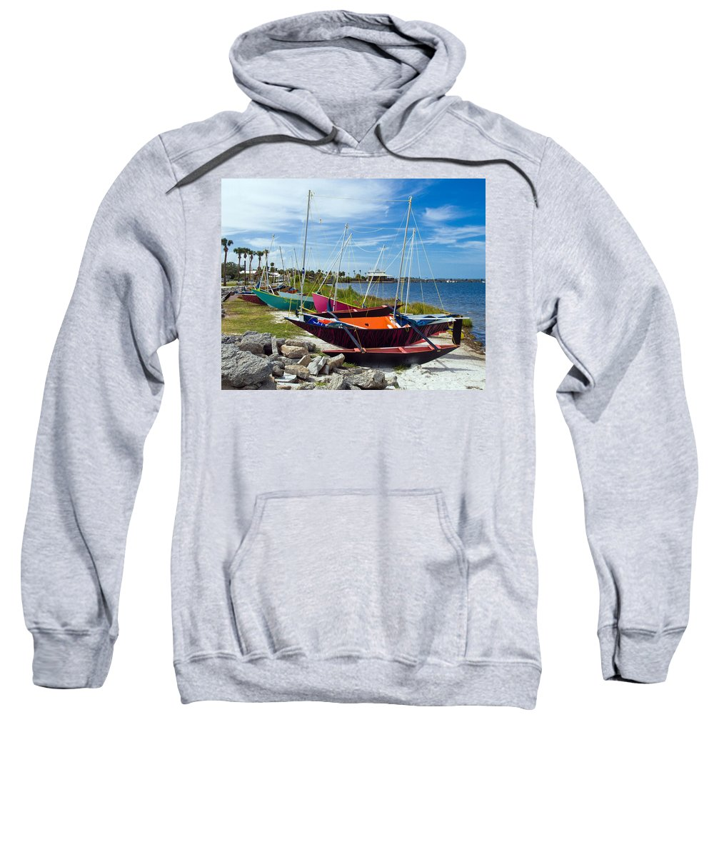 Sail; Sailing; Boat; Sailboat; Mast; Plywood; Homemade; Boy; Scouts; Fleet; Class; Dragon; Tiller; F Sweatshirt featuring the photograph Beached In Sebastian Florida by Allan Hughes