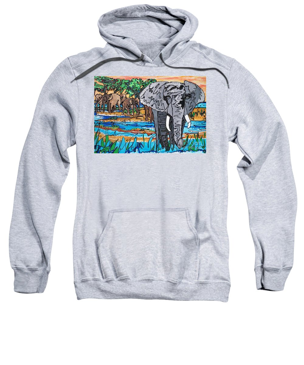 Water Sweatshirt featuring the painting Beaded Elephant by Sigrid Tune
