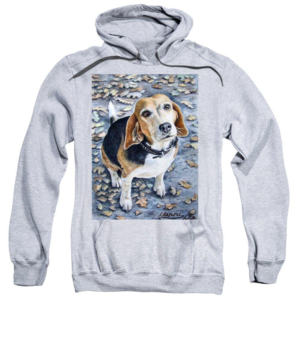 Dog Sweatshirt featuring the painting Beagle Nanni by Nicole Zeug