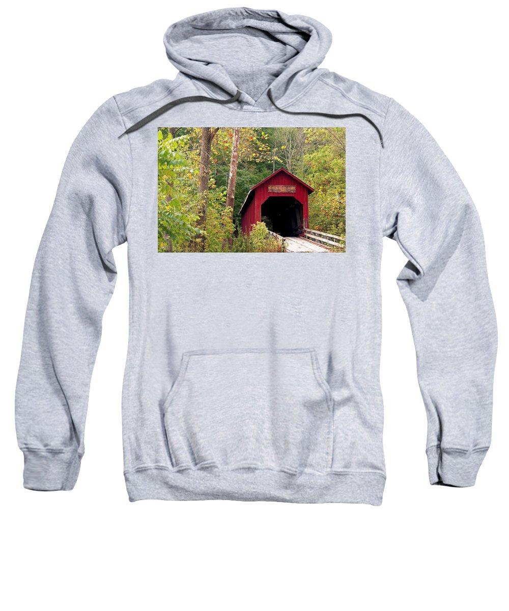 Covered Bridge Sweatshirt featuring the photograph Bean Blossom Bridge II by Margie Wildblood